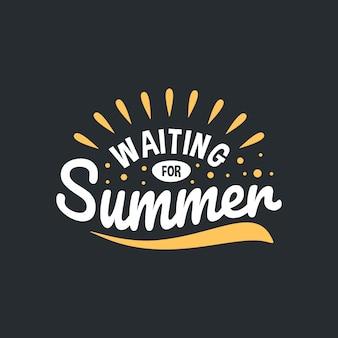 Conception de typographie de citations de lettrage d'été vacances écrites à la main de citation d'été