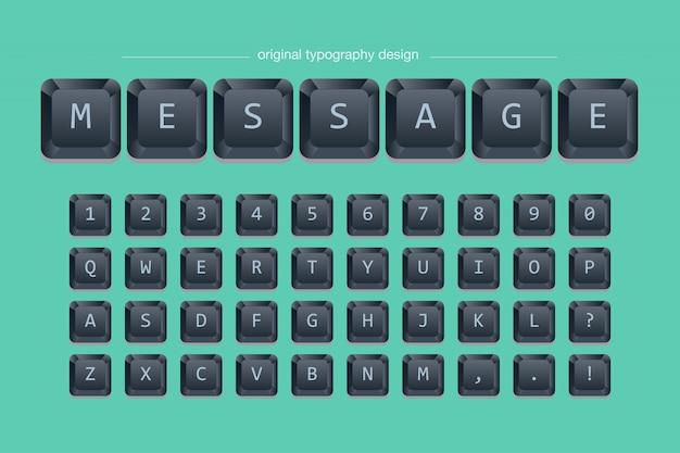 Conception de typographie de clavier noir