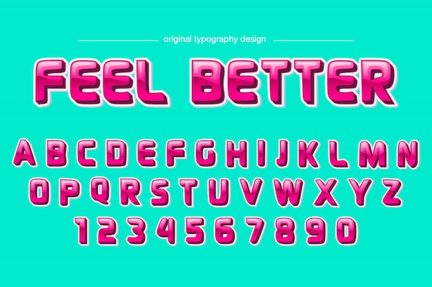 Conception de typographie comique rose coloré