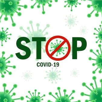 Conception de typographie concept coronavirus, arrêter le virus covid19, rester à la maison, coronavirus, illustration vectorielle.