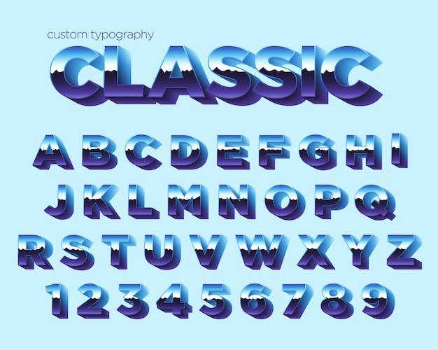 Conception de typographie dégradé rétro bleu