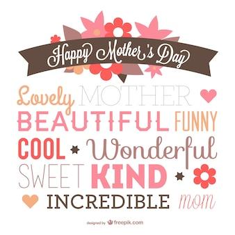 La conception de la typographie du jour de mère