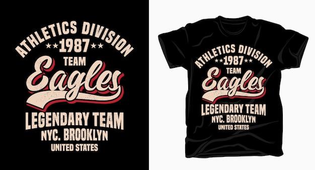 Conception de typographie de l'équipe de division d'athlétisme aigles pour t-shirt