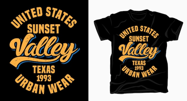 Conception de typographie états-unis sunset valley texas pour t-shirt
