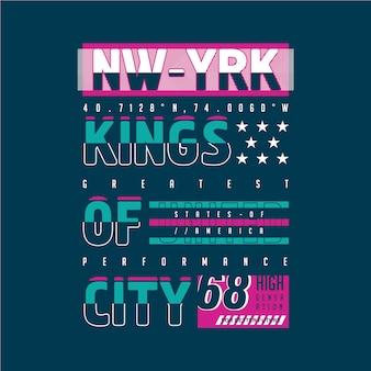 Conception de typographie graphique de rois de la ville pour t-shirt imprimé prêt