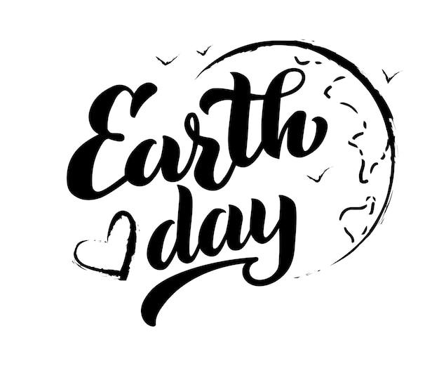 Conception de typographie de jour de la terre de lettrage manuscrit de vecteur de jour de la terre pour l'affiche de cartes de voeux