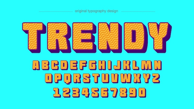 Conception de typographie motif vagues orange audacieux