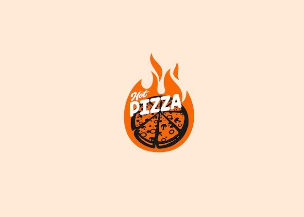 Conception de typographie de nourriture de logo de pizza chaude
