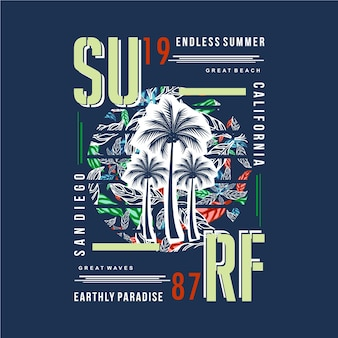 Conception de typographie de plage de surf pour le graphique de t-shirt imprimé