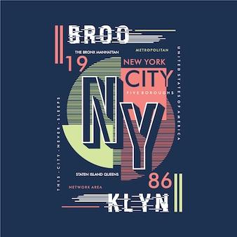 Conception de typographie rayée de brooklyn pour le graphique de t-shirt imprimé