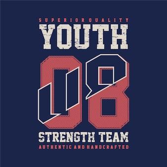 Conception de typographie sport jeunesse t-shirt style décontracté