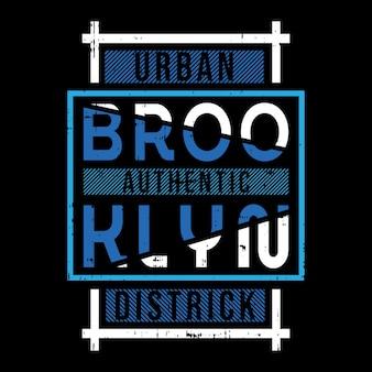 Conception de typographie de t-shirt brooklyn text frame