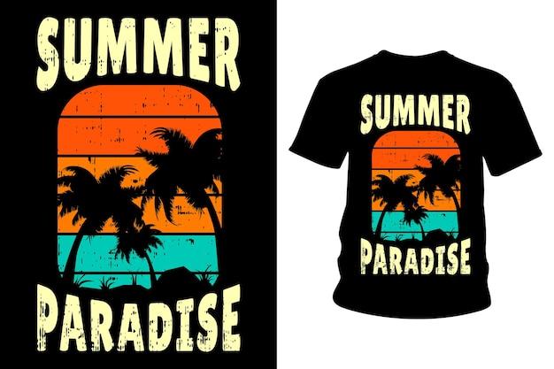 Conception de typographie de t-shirt de texte de paradis d'été