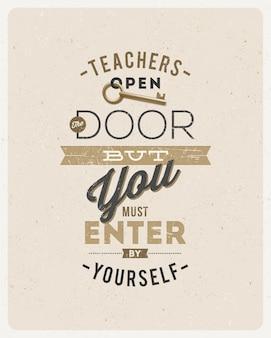 Conception typographique - citation sur un enseignant