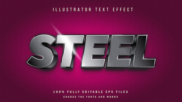 Conception typographique d'effet de texte 3d en acier