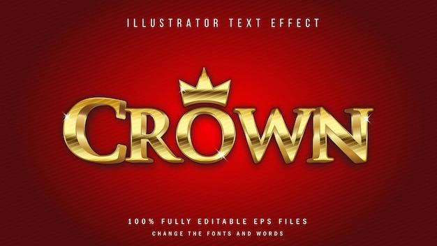 Conception typographique d'effet de texte 3d crown gold