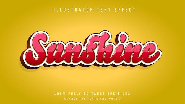 Conception typographique d'effet de texte 3d sunshine