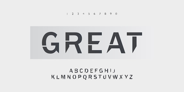 Conception typographique de grandes polices alphabet avec une forme nette