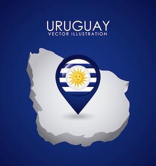 Conception de l'uruguay au cours de l'illustration vectorielle fond bleu