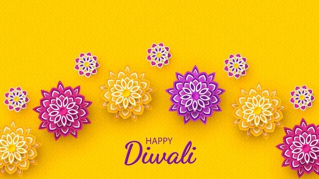 Conception de vacances de festival de diwali avec le style de papier découpé de rangoli indien et de fleurs.