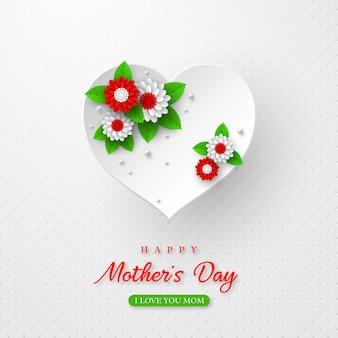 Conception de vacances de voeux bonne fête des mères. papier artisanal style 3d coeurs décorés de fleurs sur blanc tacheté