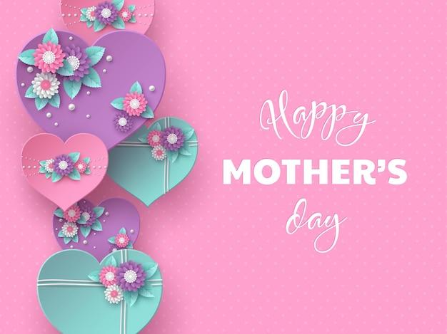 Conception de vacances de voeux bonne fête des mères. papier artisanal style 3d coeurs décorés de fleurs sur rose tacheté