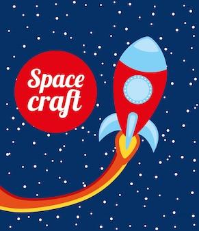 La conception des vaisseaux spatiaux au cours de l'illustration vectorielle fond nuit