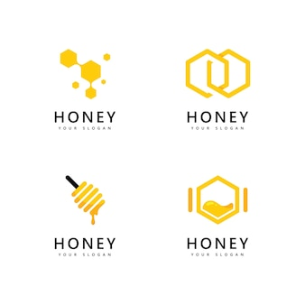Conception de vecteur d'abeilles d'icône de logo de peigne de miel