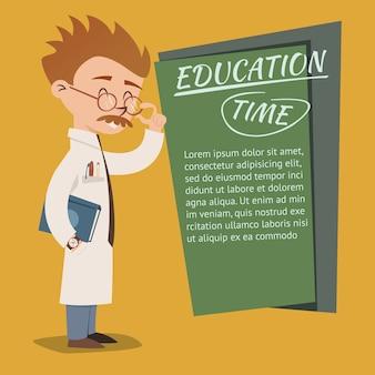 Conception de vecteur d'affiche de temps d'éducation de style vintage avec un professeur ringard excentrique portant des lunettes enseignant sur un tableau d'école ou d'université avec fond pour le texte