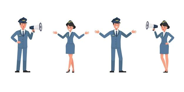 Conception de vecteur de caractère d'hôtesse et hôtesse de l'air. présentation dans diverses actions. n ° 5