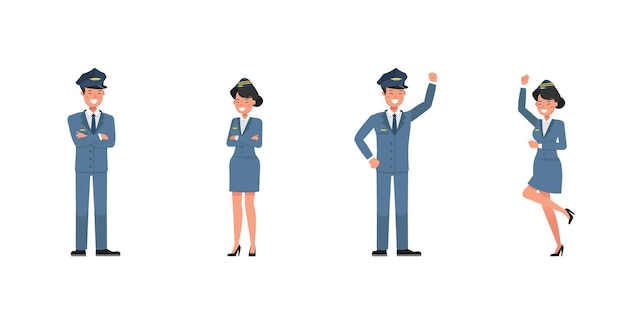 Conception de vecteur de caractère d'hôtesse et hôtesse de l'air. présentation dans diverses actions. numéro 4
