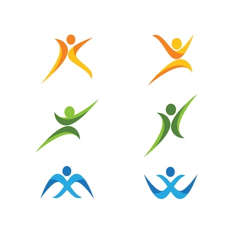 Conception de vecteur de caractère humain logo signe illustration
