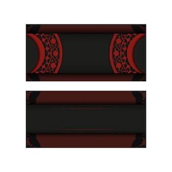 Conception de vecteur de carte postale de couleur noir-rouge avec des motifs luxueux. conception de cartes d'invitation avec un espace pour votre texte et vos ornements vintage.