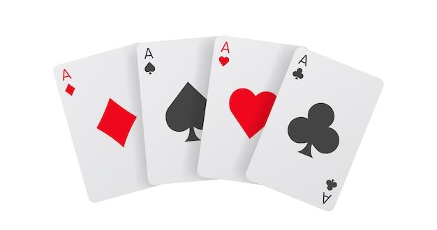Conception de vecteur de cartes à jouer isolées. bannière d'as de poker.
