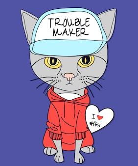 Conception de vecteur de chat dessiné à la main pour l'impression de t-shirt