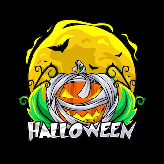 Conception de vecteur de citrouille momie halloween jour