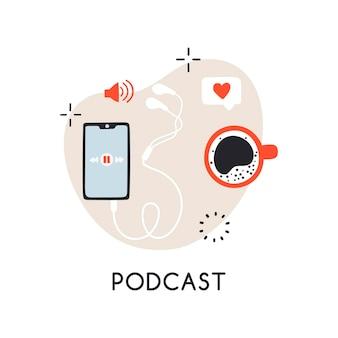 Conception de vecteur de concept avec des écouteurs de smartphone et du café