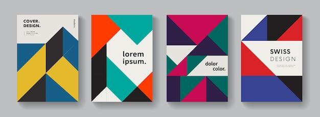 Conception de vecteur de couvertures géométriques plates. composition moderne colorée. motif minimal.