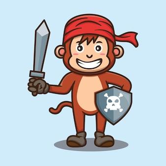 Conception de vecteur de dessin animé mignon singe pirate équipage
