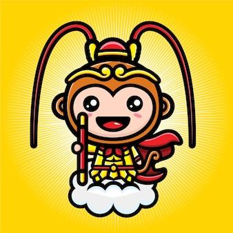Conception de vecteur de dessin animé mignon soleil wukong