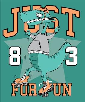 Conception de vecteur de dinosaure cool dessinés à la main pour l'impression de t-shirt