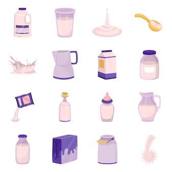 Conception de vecteur du symbole de l'alimentation et des produits laitiers. ensemble de nourriture et de calcium