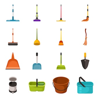 Conception de vecteur du symbole de l'équipement et des tâches ménagères. ensemble d'équipement et ensemble propre