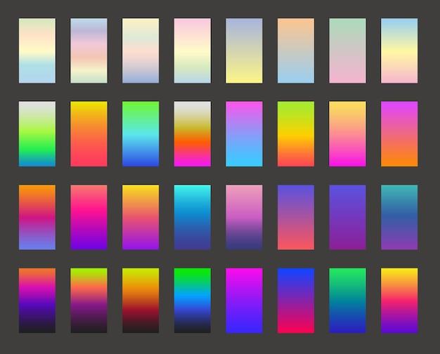 Conception de vecteur d'écran moderne pour application mobile. arrière-plans dégradés colorés lumineux. arrière-plans de couleur claire pour l'interface utilisateur. modèles vectoriels d'interface web de couleur floue.