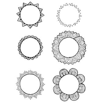 Conception de vecteur d'éléments de doodle mandala vintage
