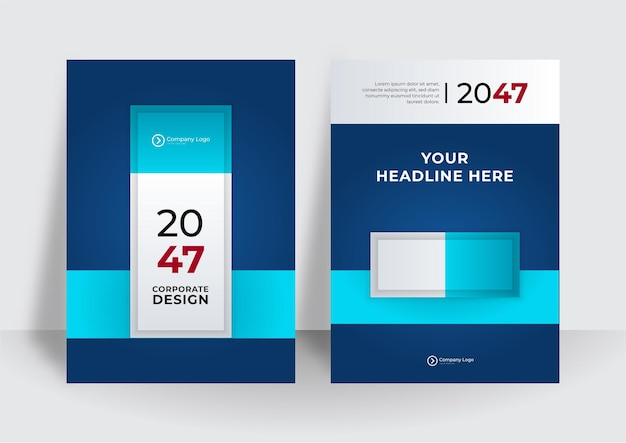 Conception de vecteur d'entreprise de couverture d'identité d'entreprise bleue, abstrait de publicité de brochure de dépliant, modèle de mise en page de magazine d'affiches modernes, rapport annuel pour la présentation.