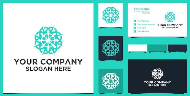 Conception de vecteur de fleur de mandala abstrait élégant logo vectoriel d'ornement premium et carte de visite