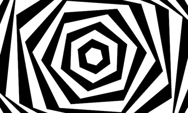Conception de vecteur de fond abstrait illusion d'optique. toile de fond noir et blanc à rayures psychédéliques. modèle hypnotique.