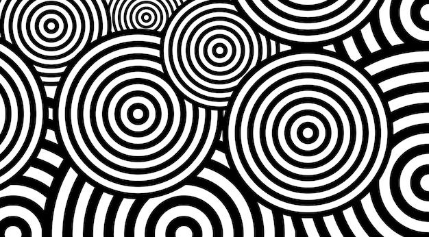 Conception de vecteur de fond circulaire tendance motif noir et blanc. l'illusion d'optique tourne en toile de fond.