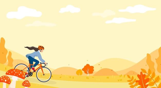 Conception de vecteur de fond de cyclisme automne